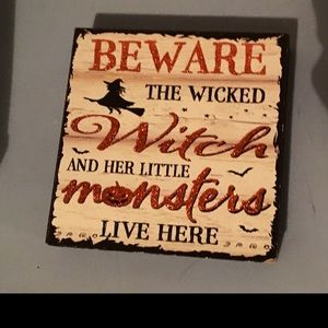 Halloween Decor Beware Of Wicked Witch sign
